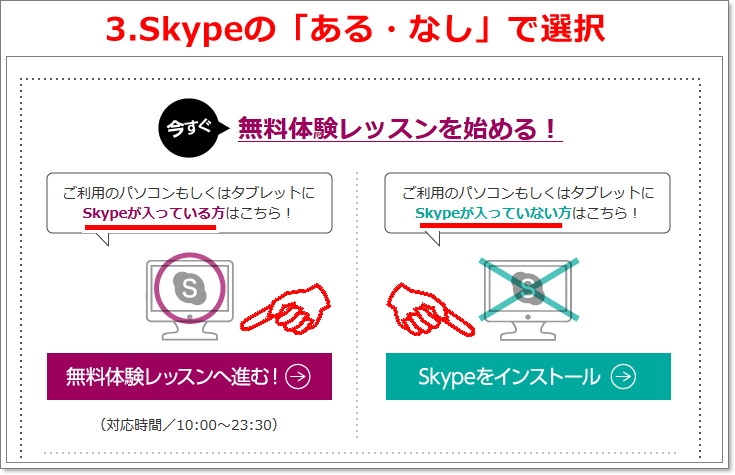 Skype選択ボタン